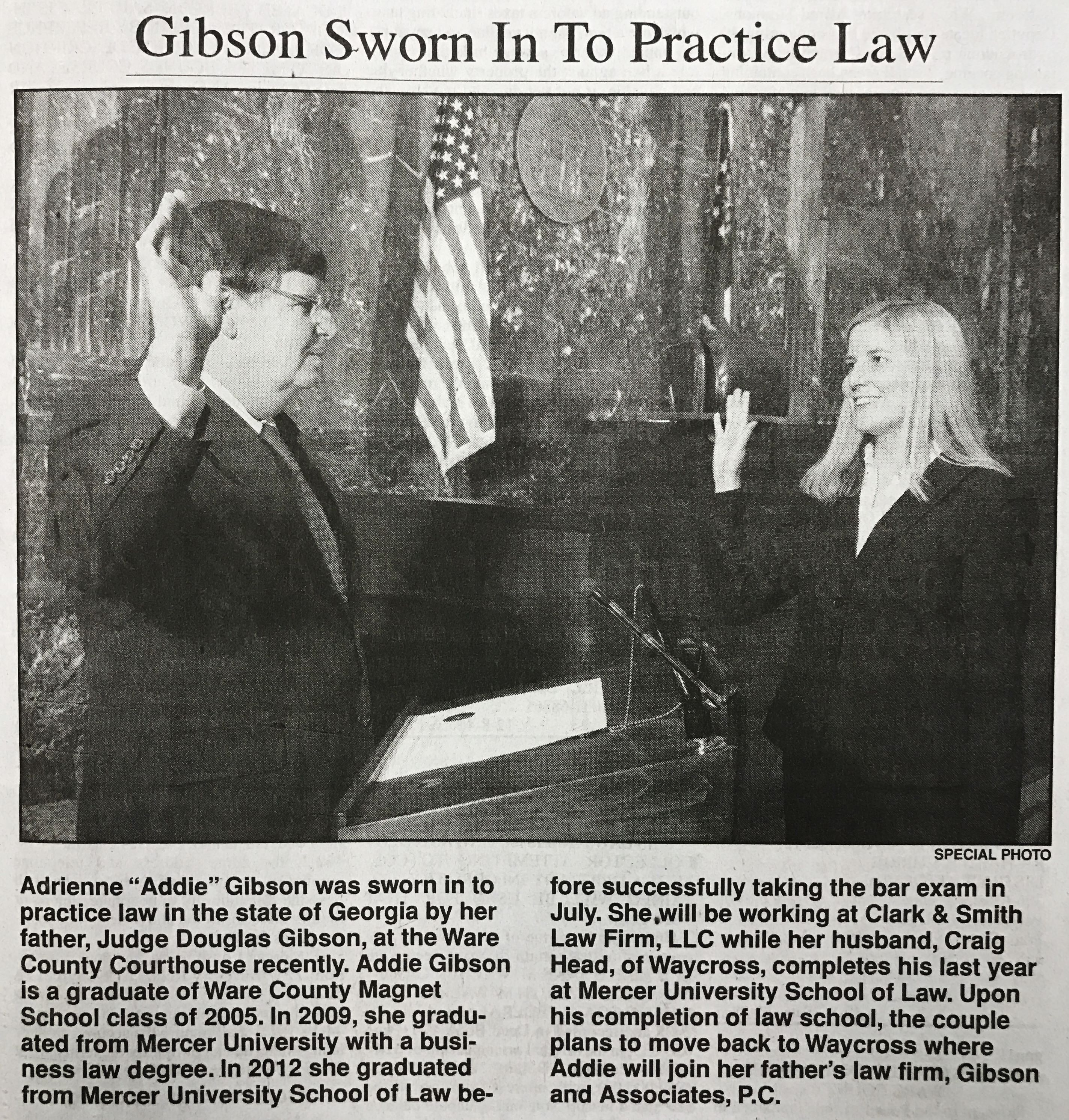 Gibson Sworn In To Practice Law